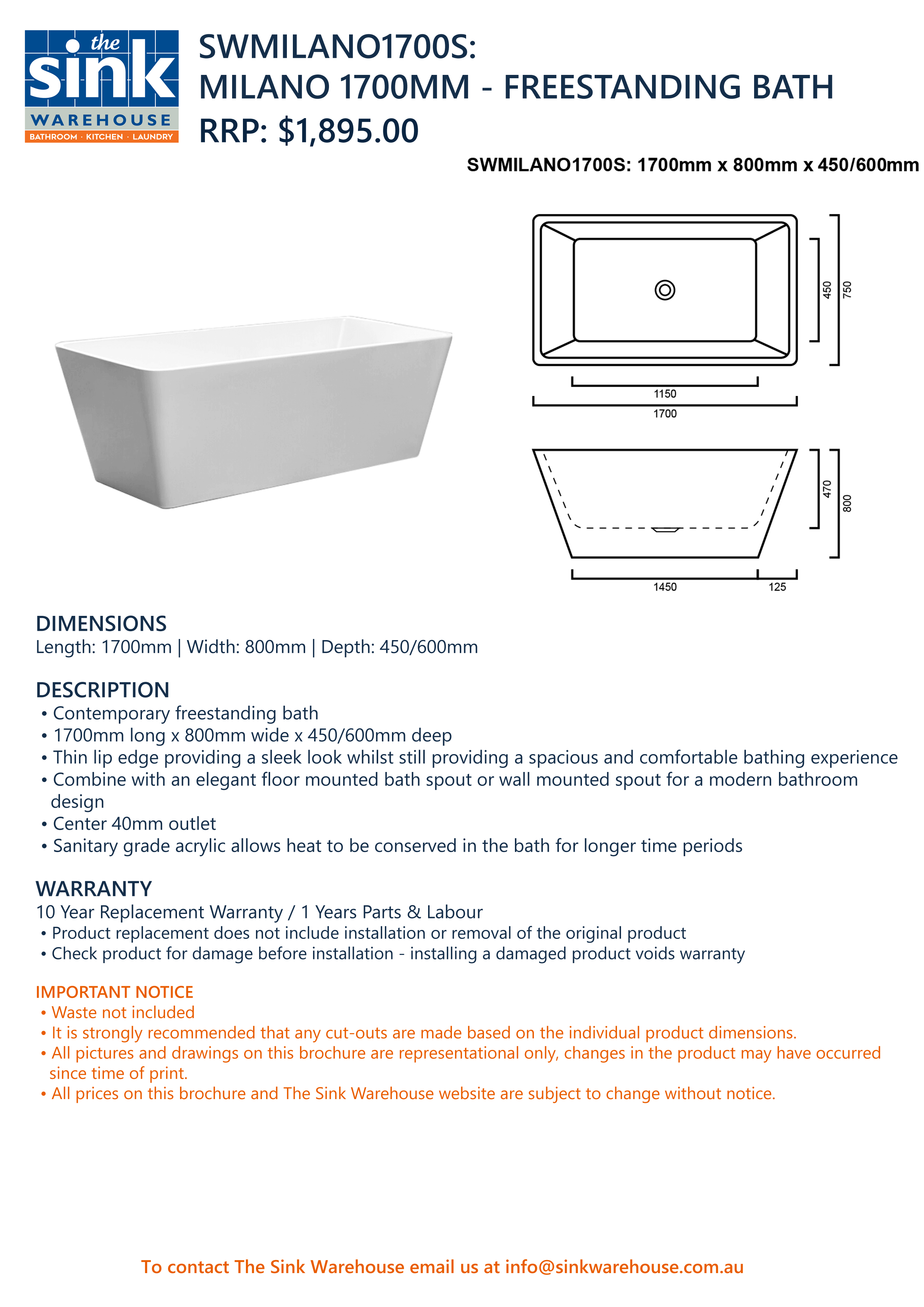 Milano - Freestanding Bath 1700mm | The Sink Warehouse | Shop Now!