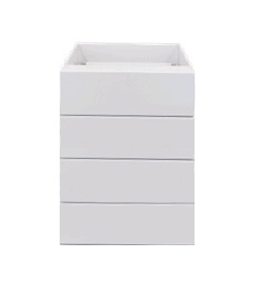 White gloss four drawer 450mm base cabinet