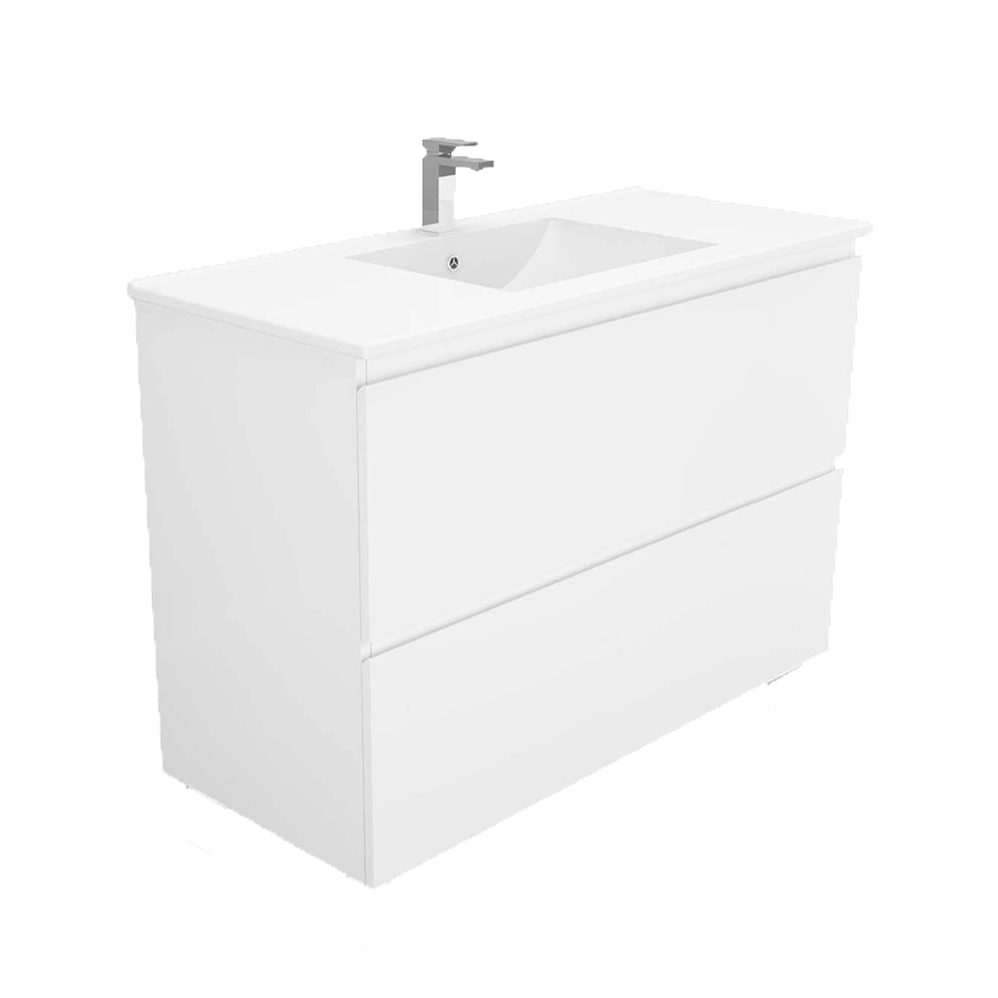 wall hung Two drawer no handle white 900mm vanity