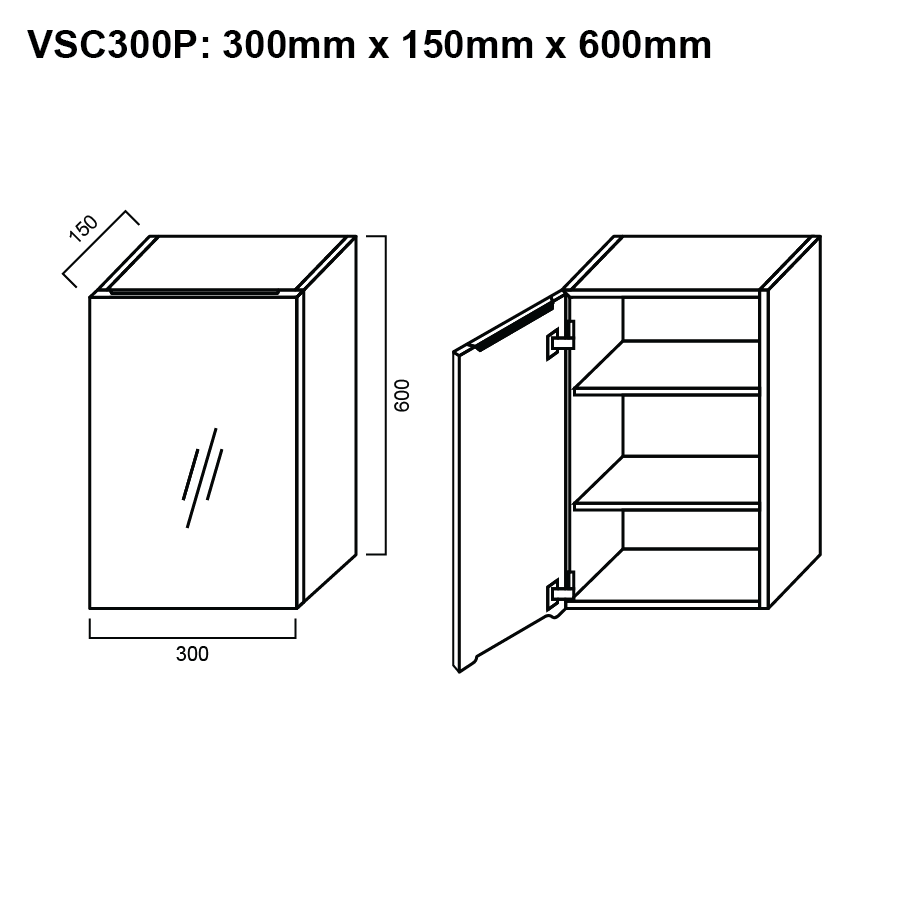 Shaving Cabinet 300mm The Sink Warehouse Delivery