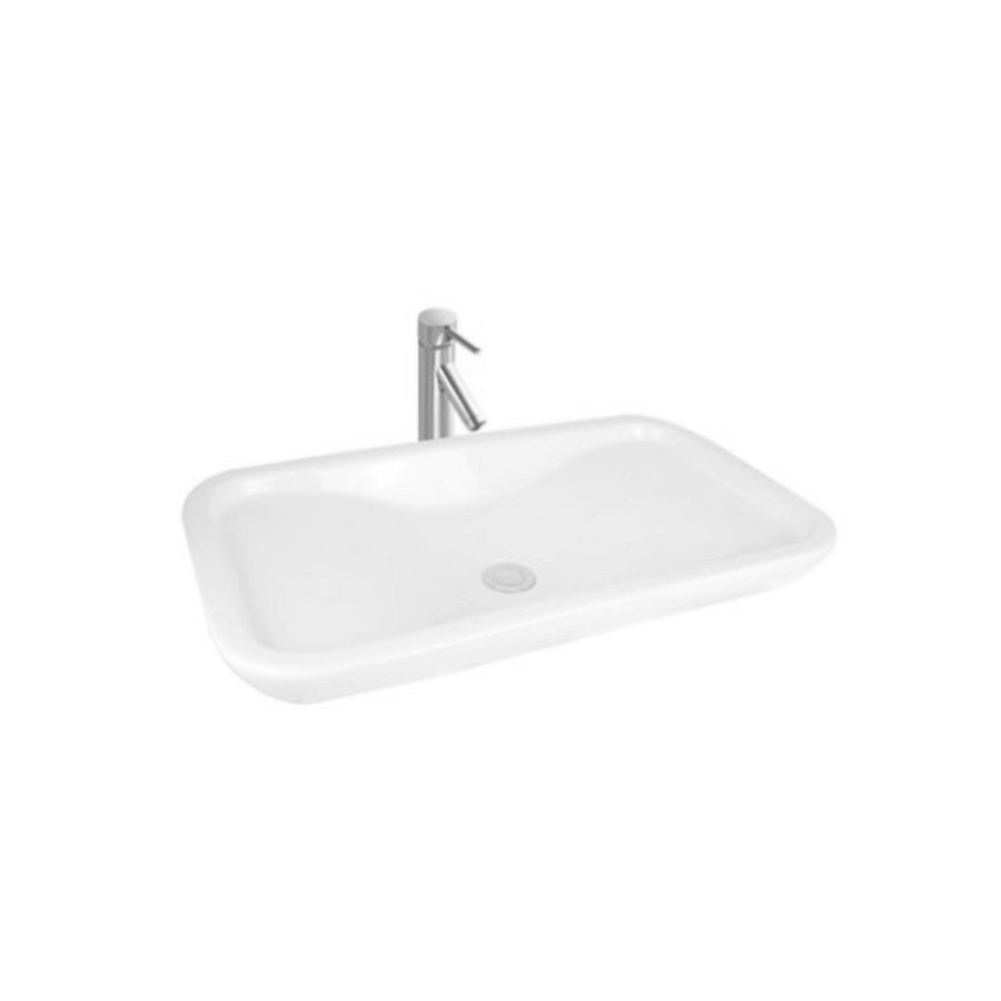 white ceramic rectangle above counter bathroom basin