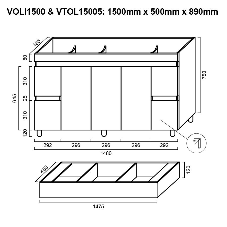Three door four drawer white 1500mm vanity