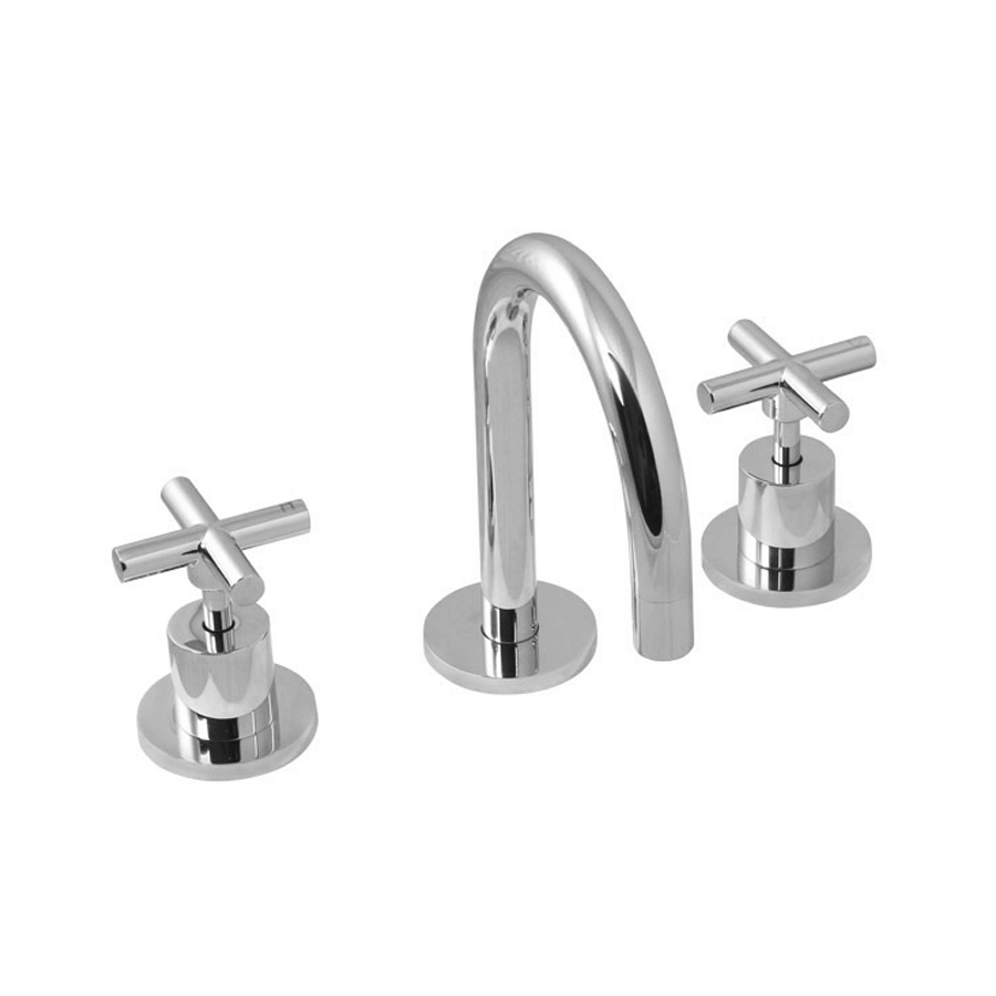 Modern chrome fixed basin spout and taps