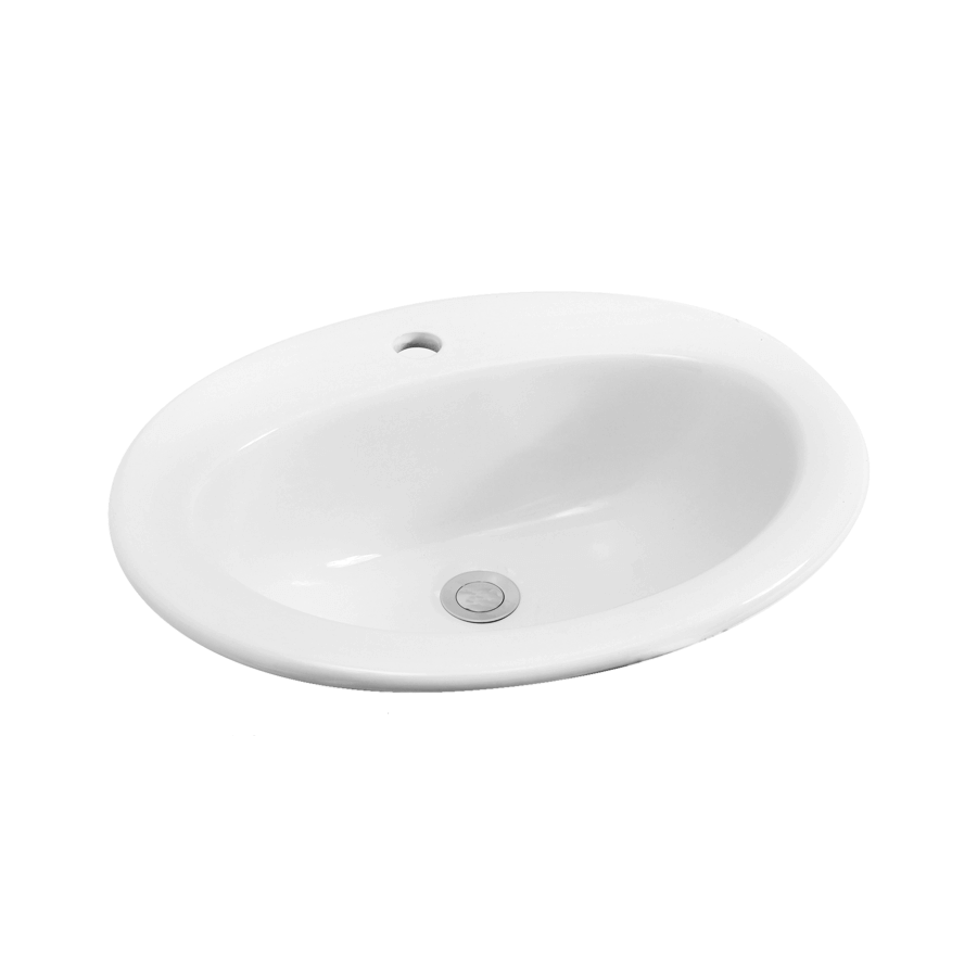 white ceramic round inset bathroom basin