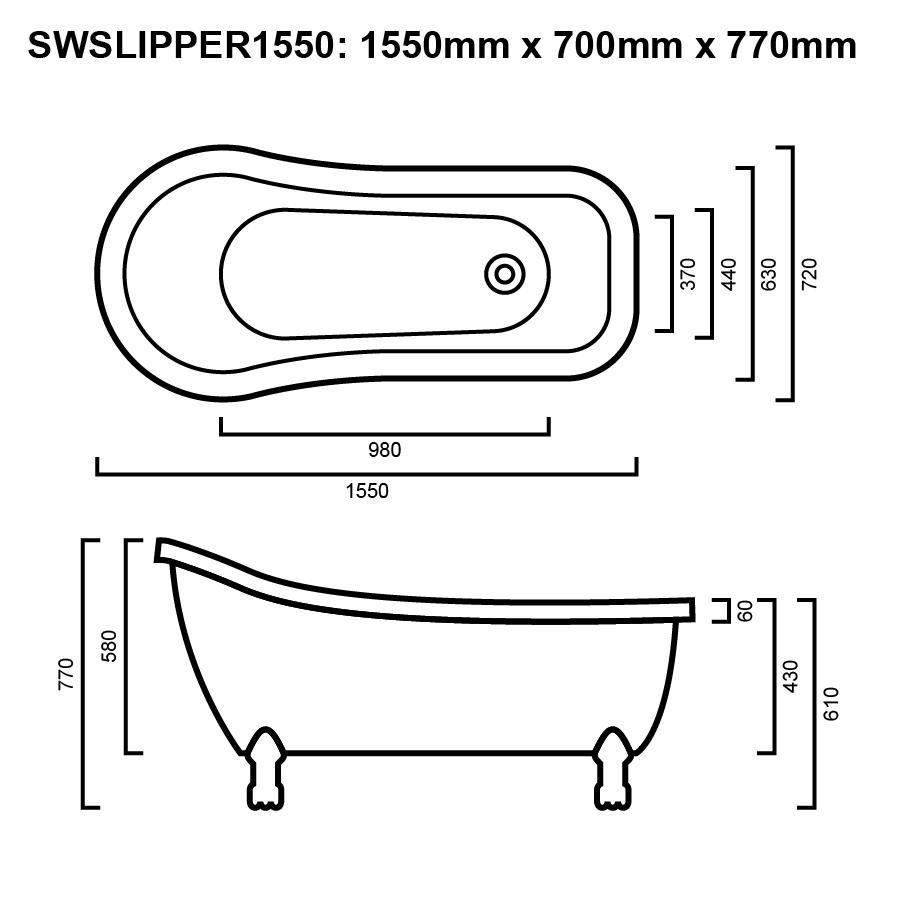 SLIPPER BATH 1550 LINE DRAWING