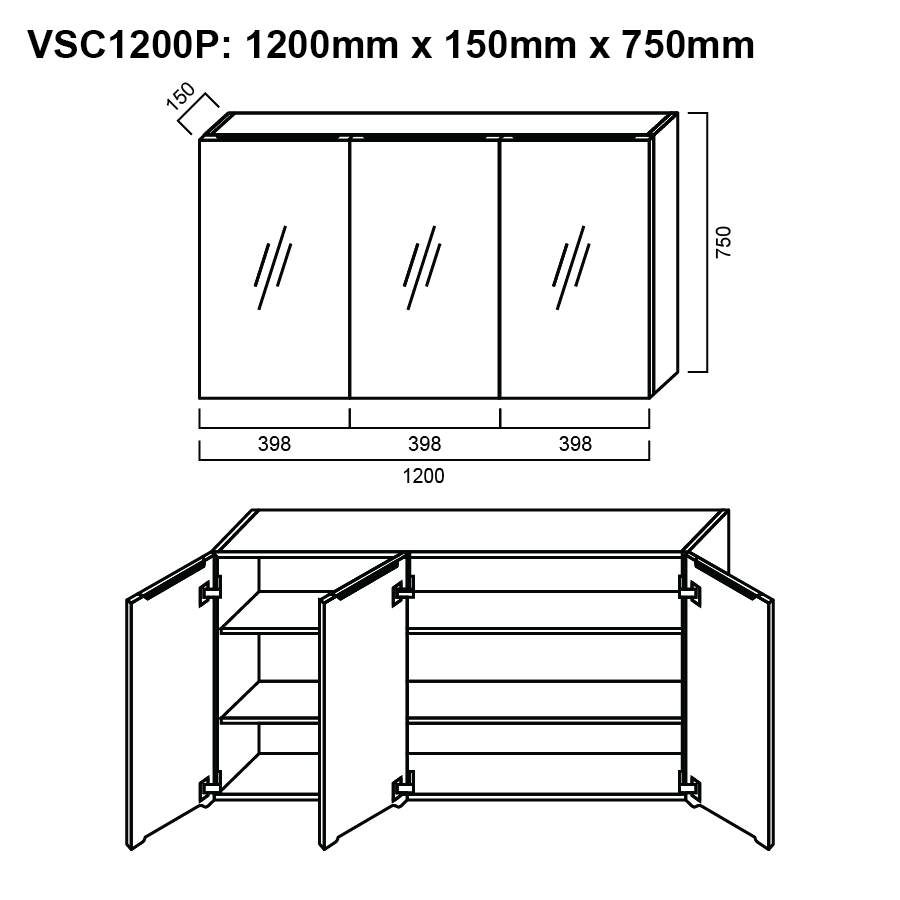 Pencil edge three glass mirror door 1200mm shaving cabinet