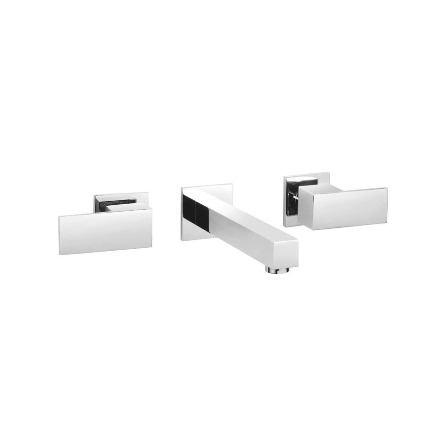 Square chrome fixed bath spout and taps