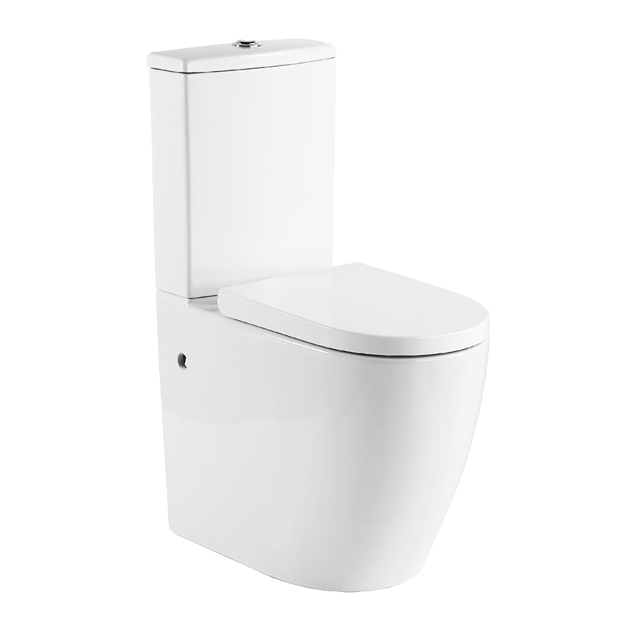 White back to wall ceramic toilet with hard plastic seat and chrome flush buttons