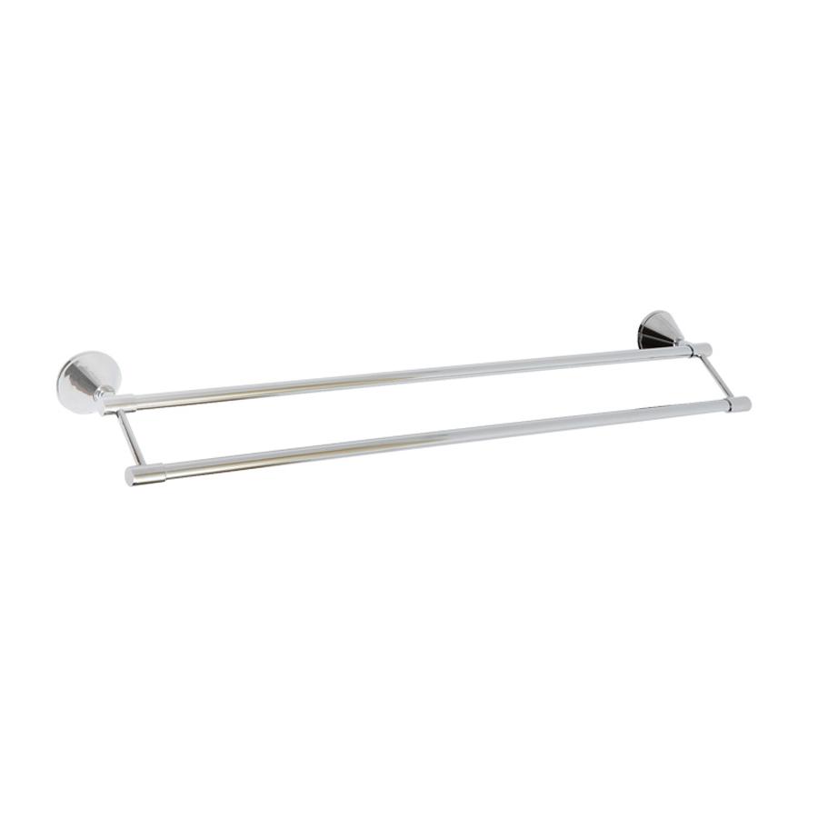Round chrome double towel holder bar rail