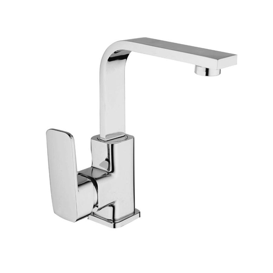 Modern chrome goosesneck basin mixer