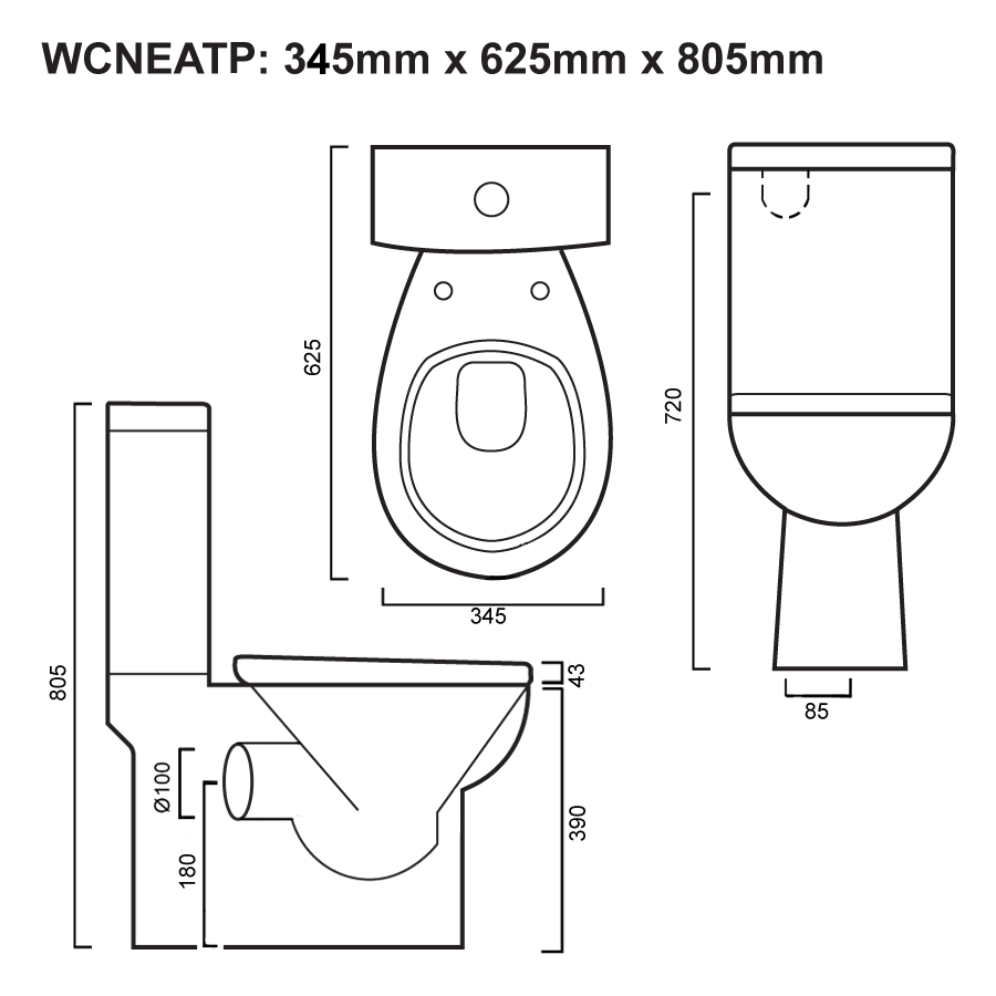 Neat P-Trap Toilet Suite Line Drawing – Updated 03-08-2018