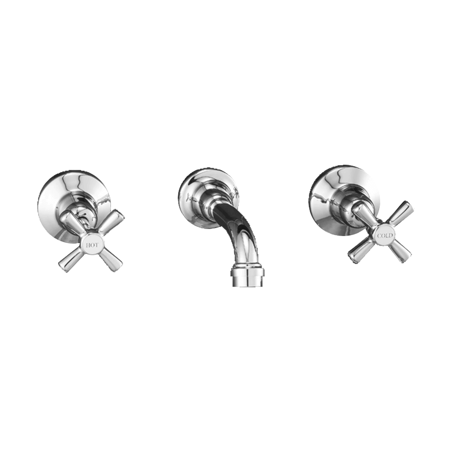 Classic chrome fixed bath spout and taps
