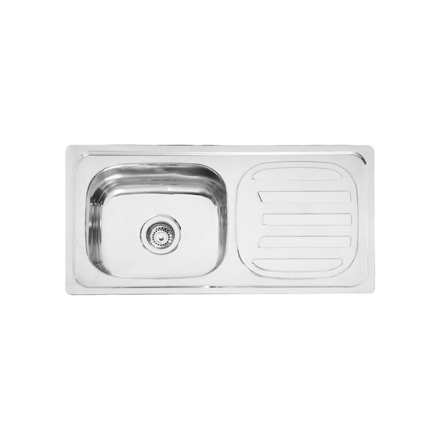 Stainless steel single bowl sink with drainer