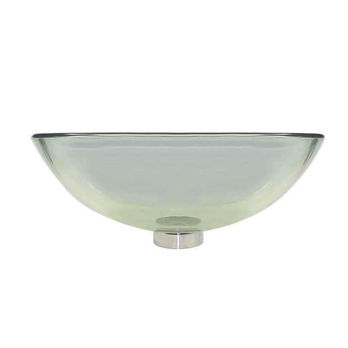 Round clear glass above counter vessel basin