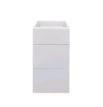 white gloss three drawer base cabinet 400mm