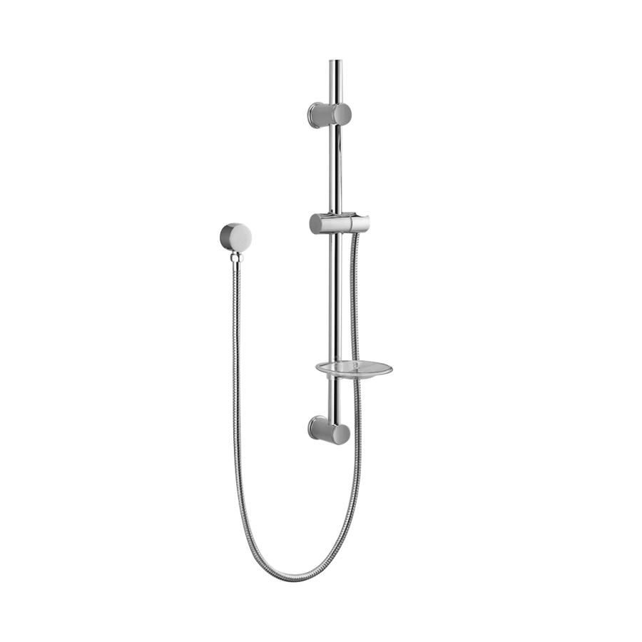 Round chrome adjustable shower rail and hose