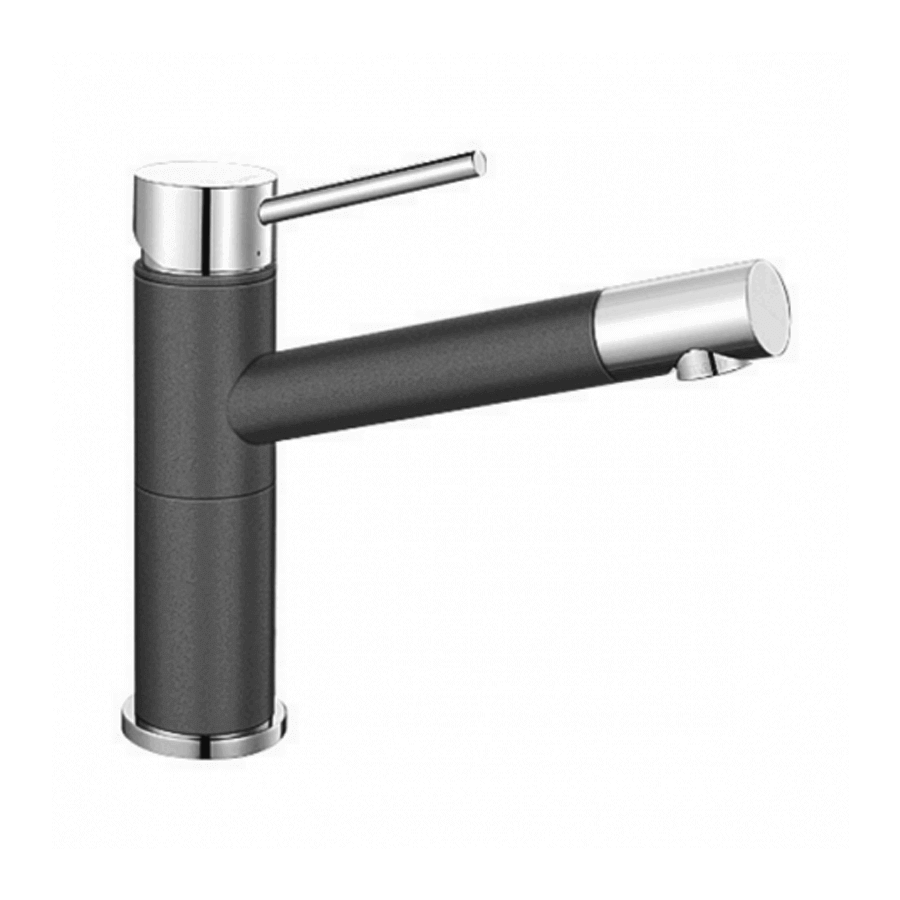 Chrome and grey single pin lever sink mixer