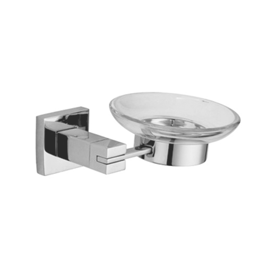 Square stainless steel soap basket and glass dish