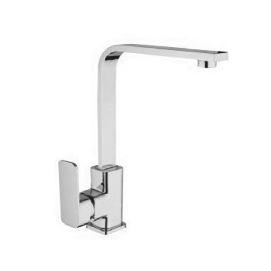 Chrome solid single lever gooseneck sink mixer