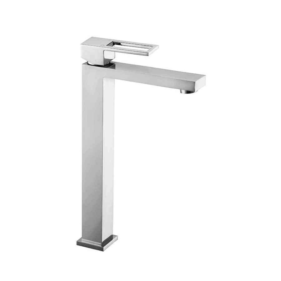 Square chrome basin mixer extended with loop handle