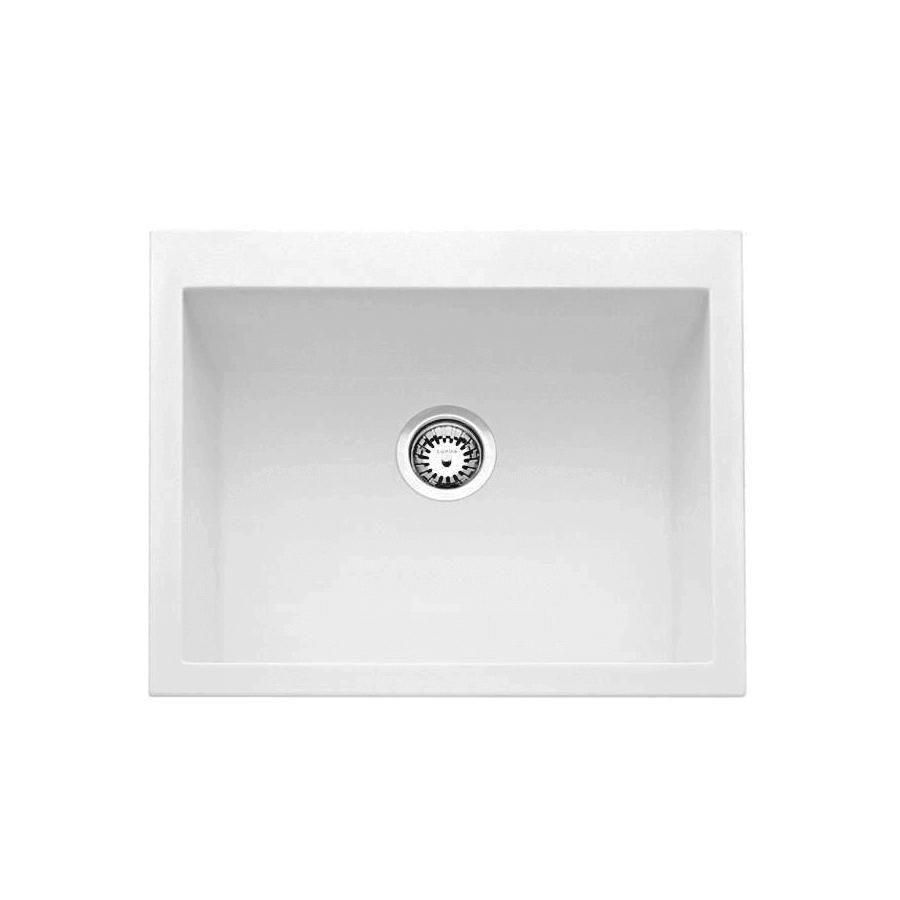 White granite large bowl sink