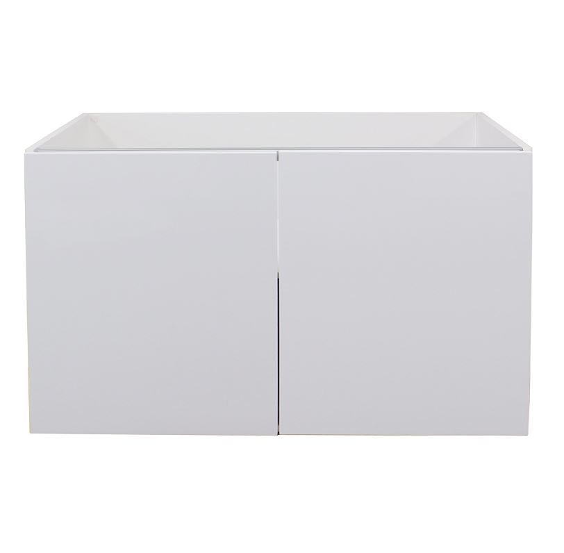 White gloss double door wall cabinet 800mm