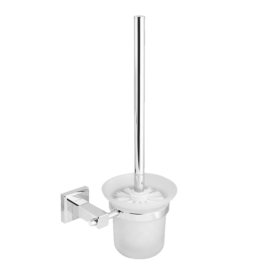 bathroom round toilet brush and holder chrome