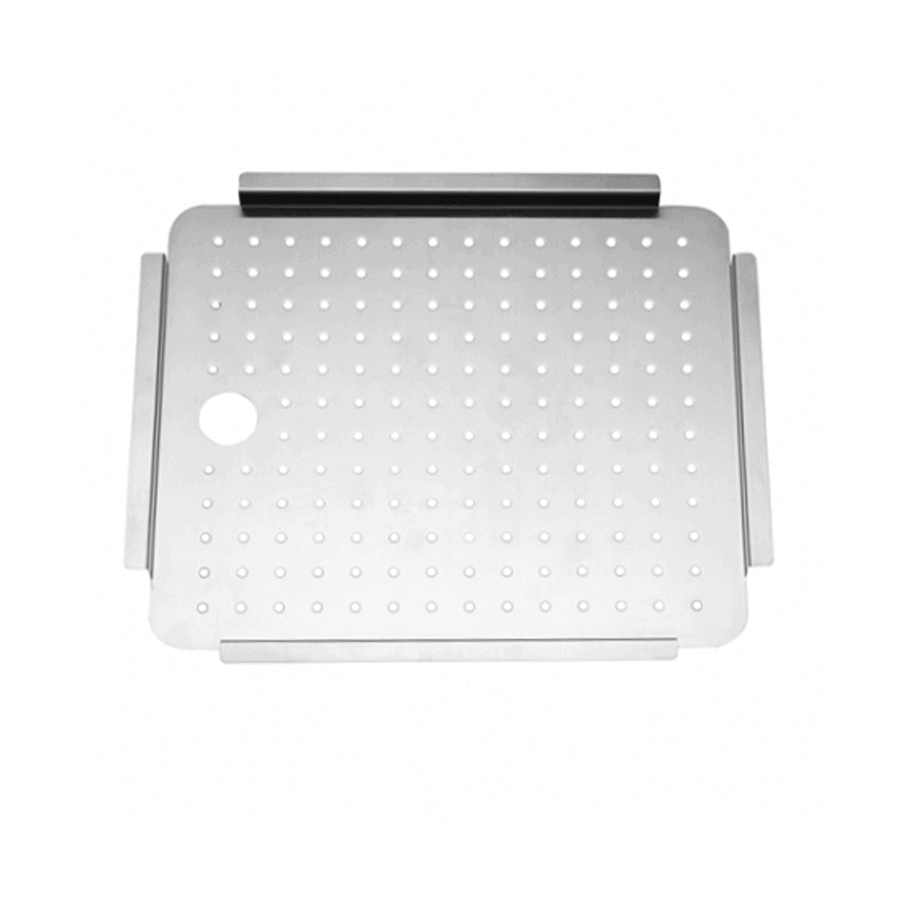 Stainless steel portable tray with drip holes