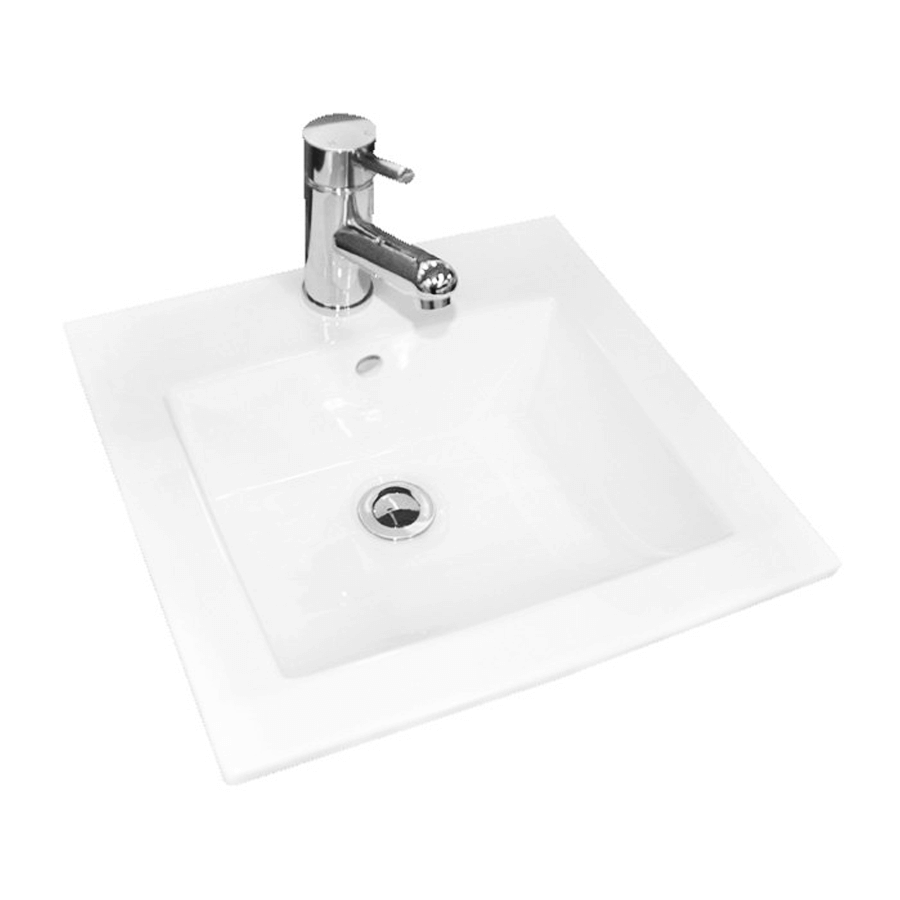 white ceramic square inset bathroom basin