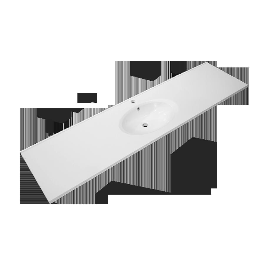 white polymarble round single bowl vanity top 1800mm