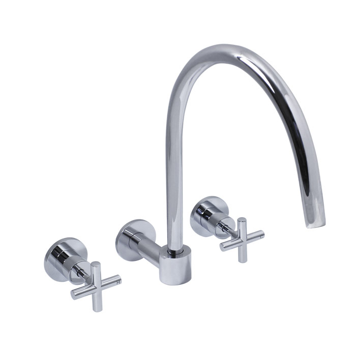 Chrome four prong taps with swivel spout