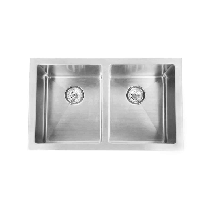 Stainless steel double bowl sink top view