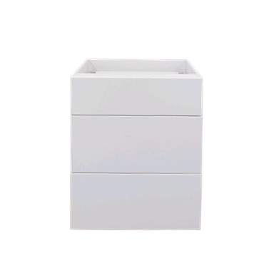 White gloss three drawer base cabinet 600mm