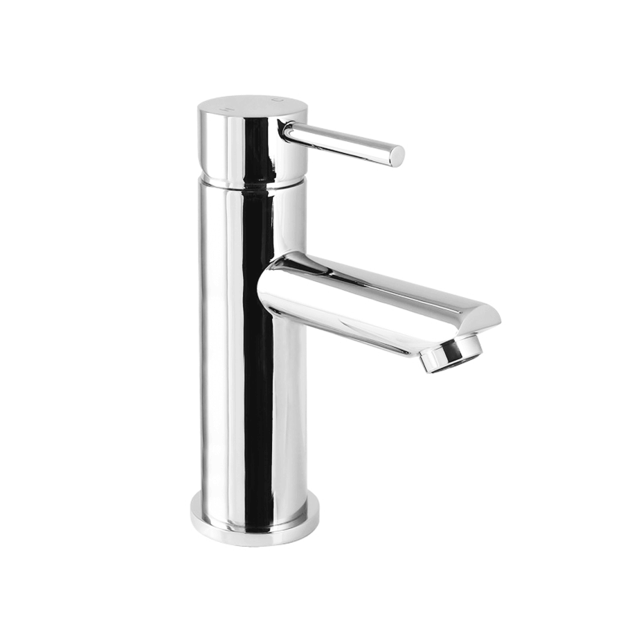 Round chrome basin mixer with pin handle