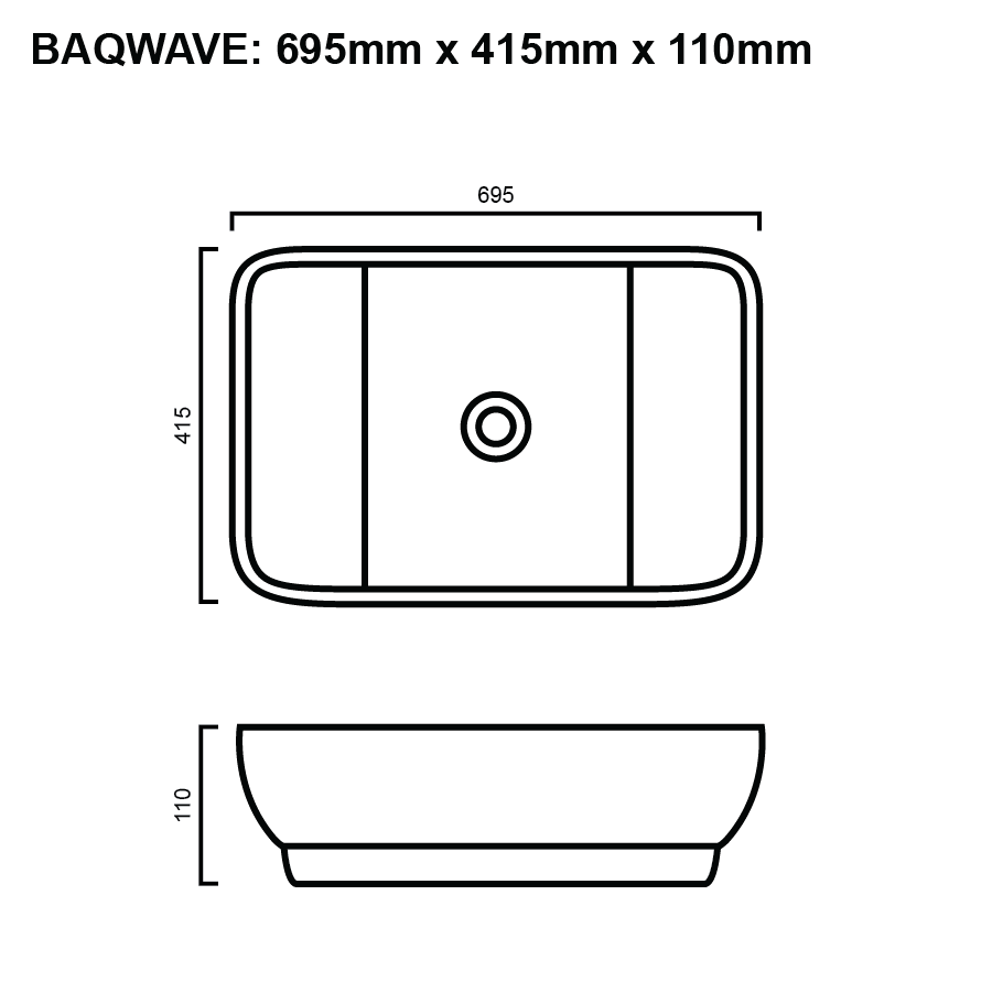line drawing for rectangle above counter bathroom basin