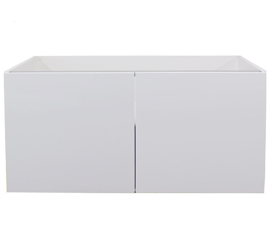 White gloss double door wall cabinet 1000mm