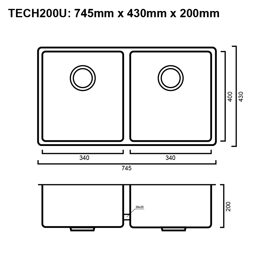 Stainless steel double bowl brushed sink line drawing