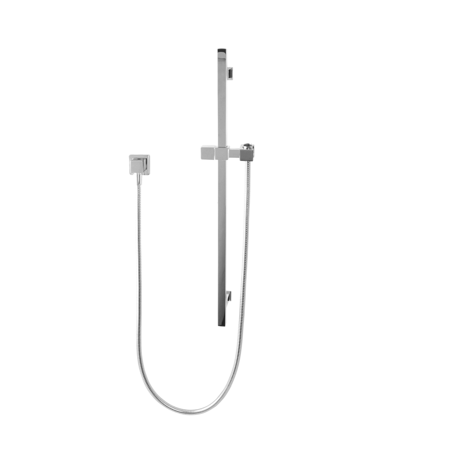 Square chrome shower column with stainless steel head and removable handset shower unit