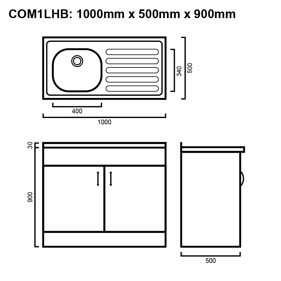 Commercial 1000 right hand drawers line drawing
