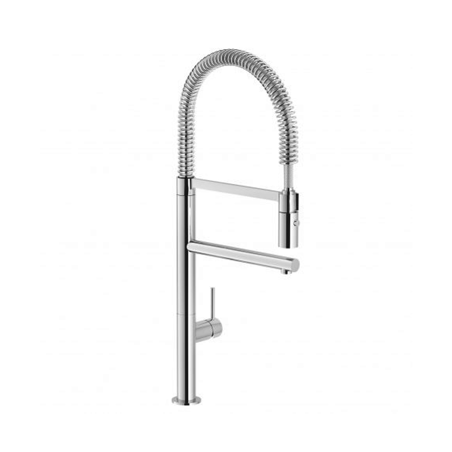 Chrome single pin lever gooseneck sink veg spray mixer dual spout