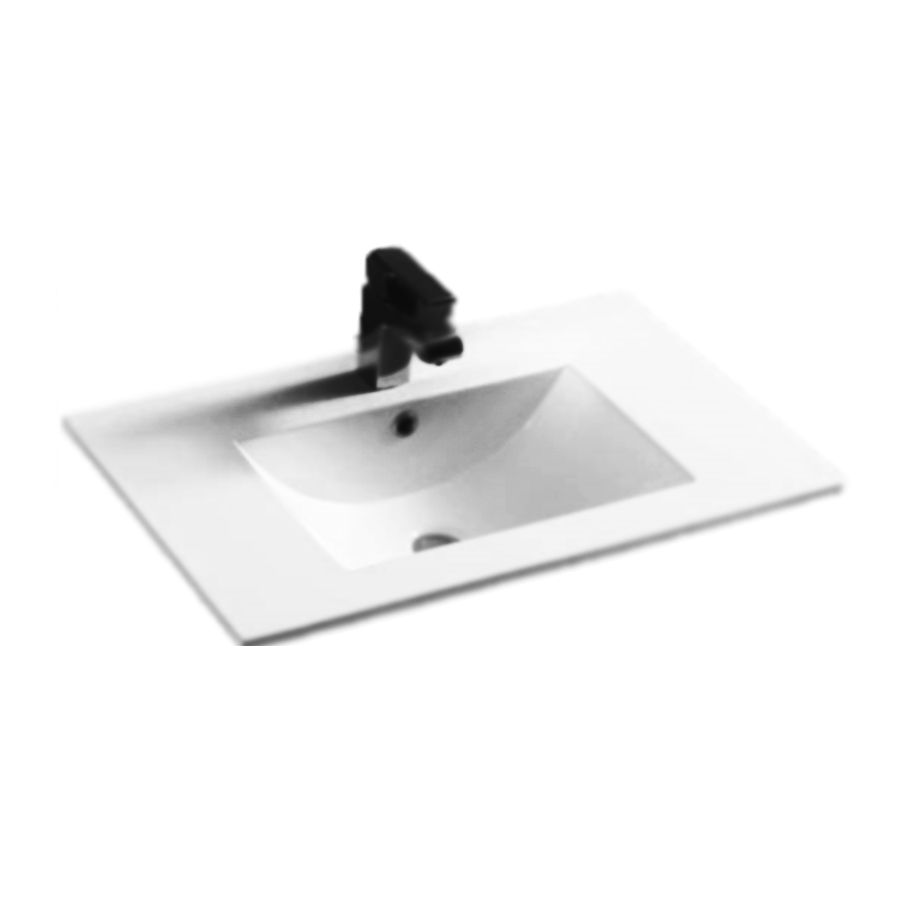 white polymarble square single bowl vanity top 750mm