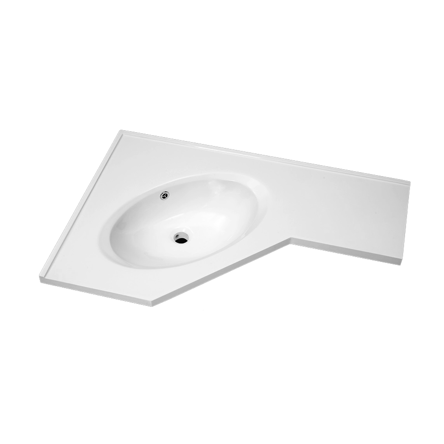 white polymarble corner vanity top round bowl 600mm 900mm