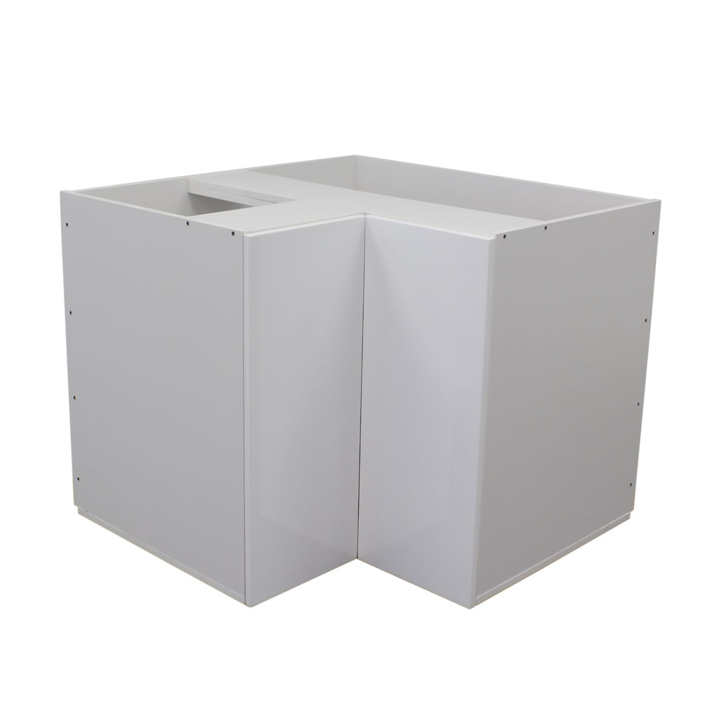 White gloss one door corner cabinet 900mm with lazy susan
