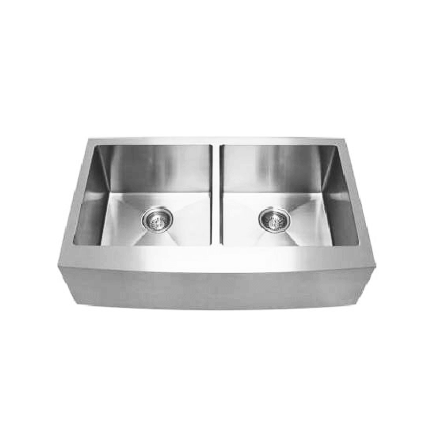 Stainless steel double bowl sink with curved front