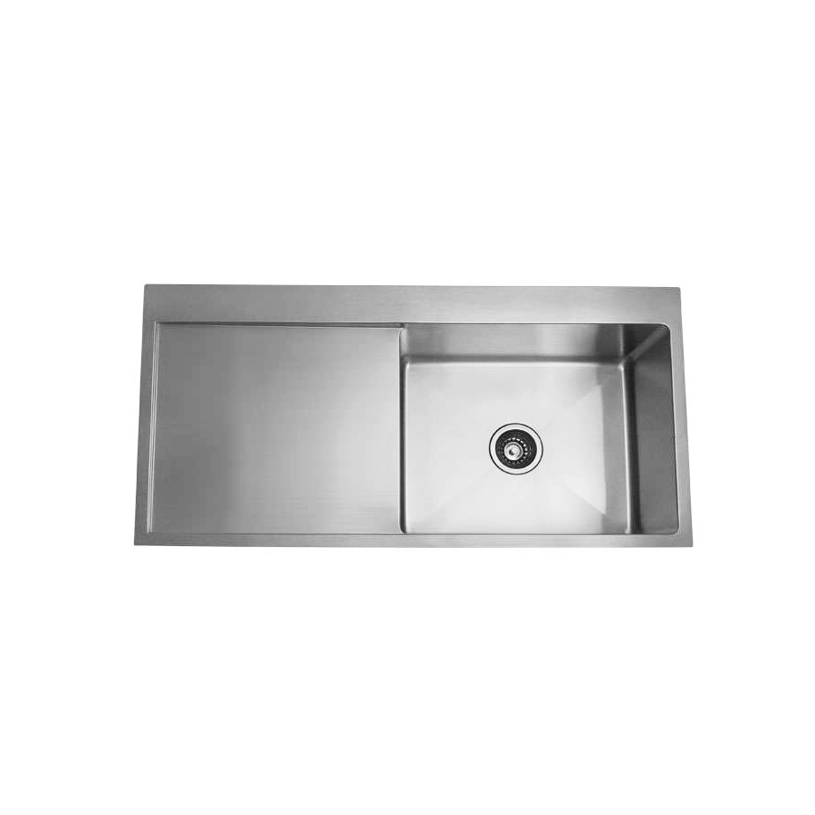 Stainless steel single bowl brushed sink with drainer