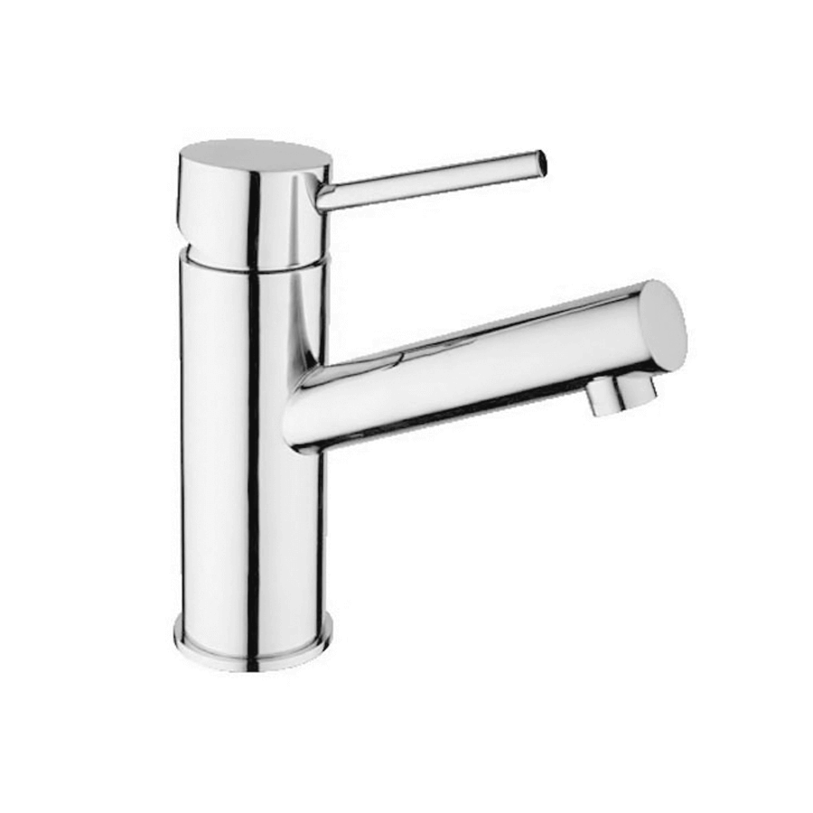 Modern chrome basin mixer with pin spout