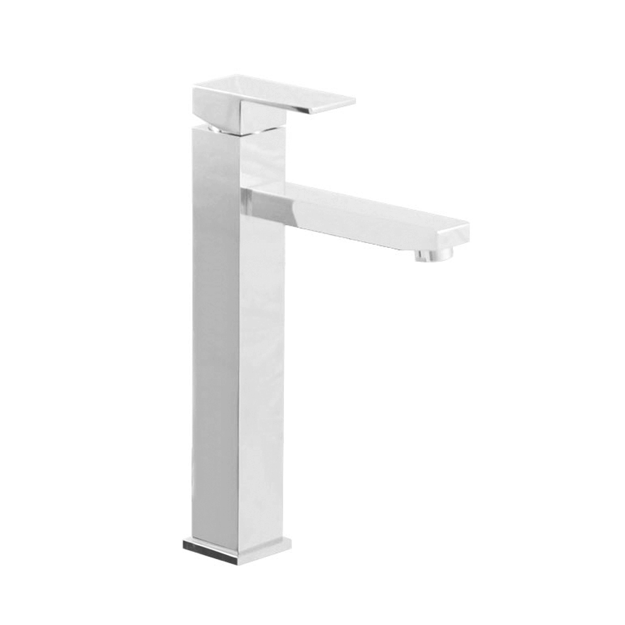 Square chrome basin mixer extended