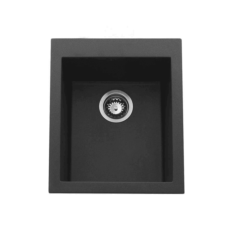 Black granite single bowl sink