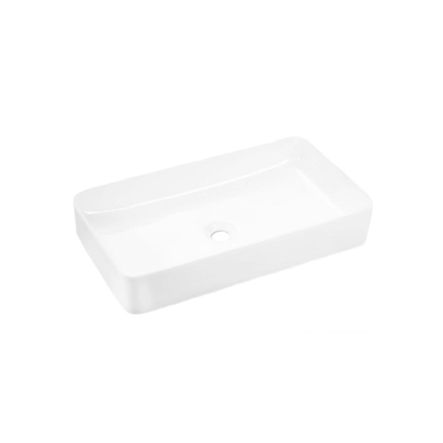 white ceramic rectangle above counter bathroom basin