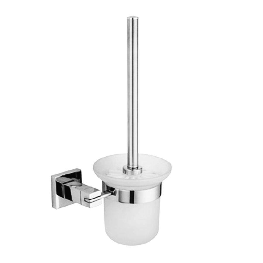 Square stainless steel toilet brush and glass holder
